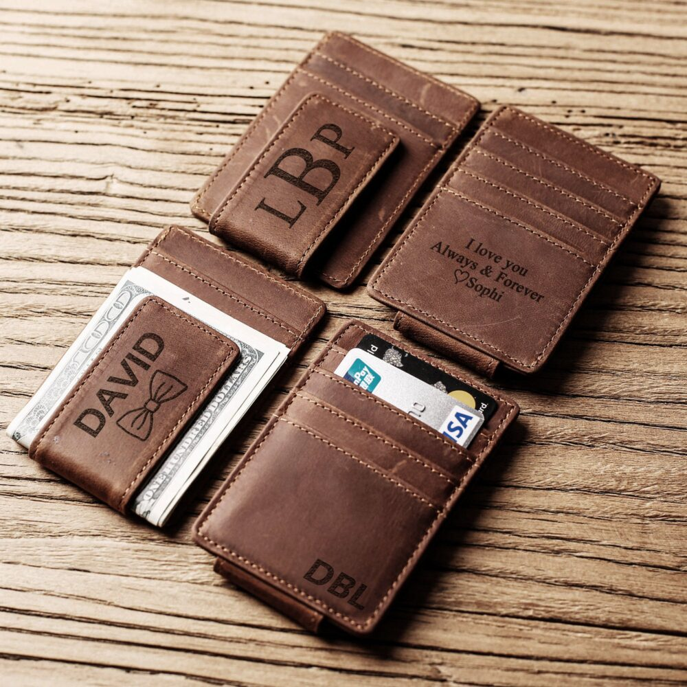 Personalized Money Clip, Leather Engraved Mens Magnetic Wallets For Men, Wallet Mens