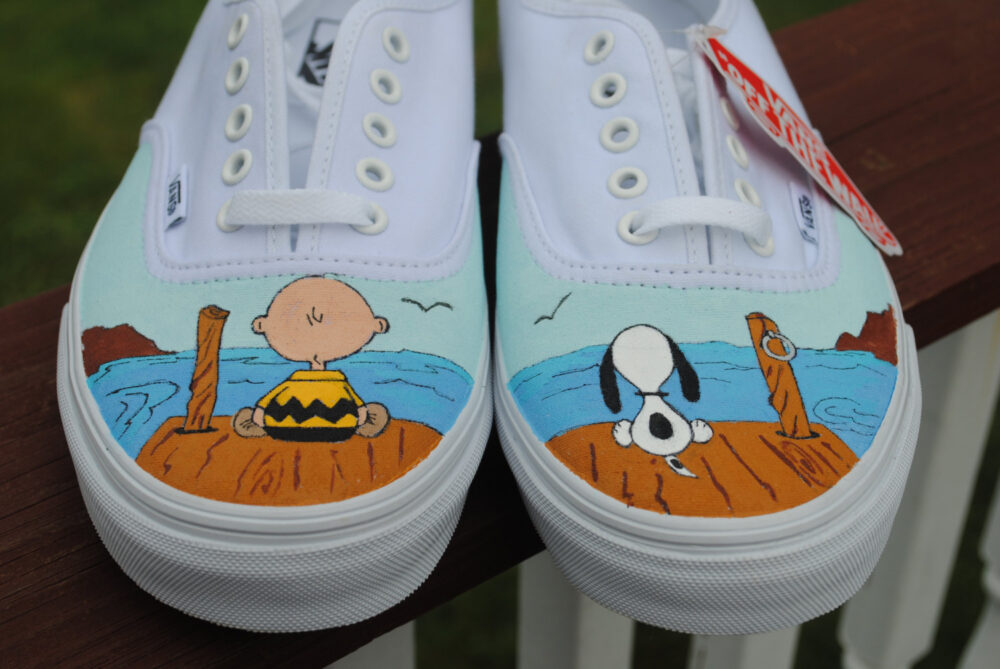 New Design Custom Hand Painted Mens Vans Shoe Charlie Brown & Snoopy Size 10.5 - Sold