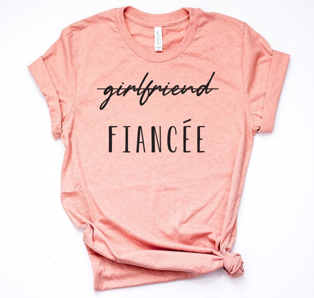 Fiancee Shirt, Fiance Mauve Wedding Bachelorette Engagement Gift, Engaged Just Engaged, Unisex Tee