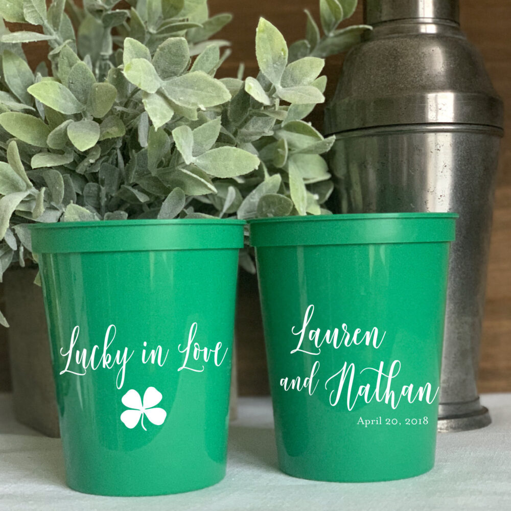 Lucky in Love - Shamrock Wedding Stadium Plastic Cups Engagement Party Favor Bachelorette