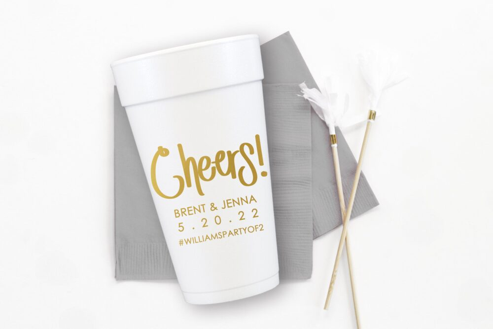Cheers Cups For Wedding, Personalized Styrofoam Cups, Engagement Party Custom Wedding Favors