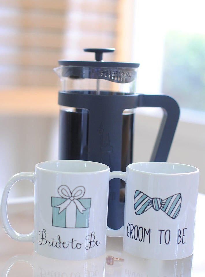 Bride To Be & Groom Wedding Coffee Mug Set, Gifts For The Couple, Gifts, Mugs, Engagement Bridal Shower