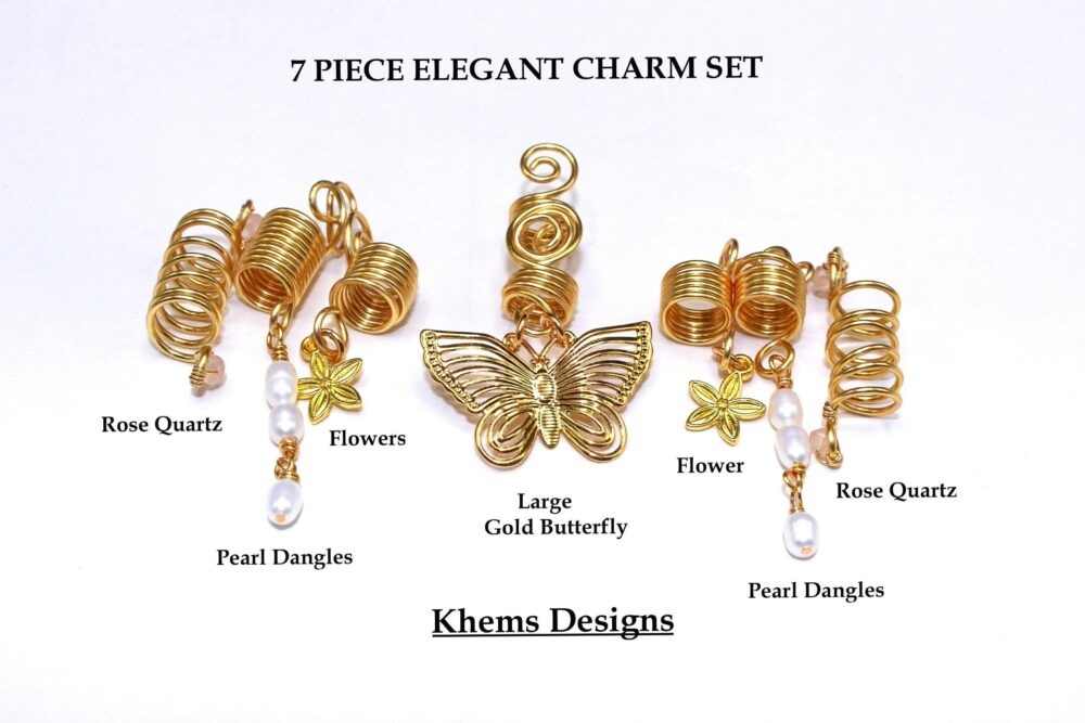 7 Piece Bridal Hair Charm Set| Loc Jewelry| Pearl Hair Butterfly Accessories| Rasta Wedding Loc Set| Elegant