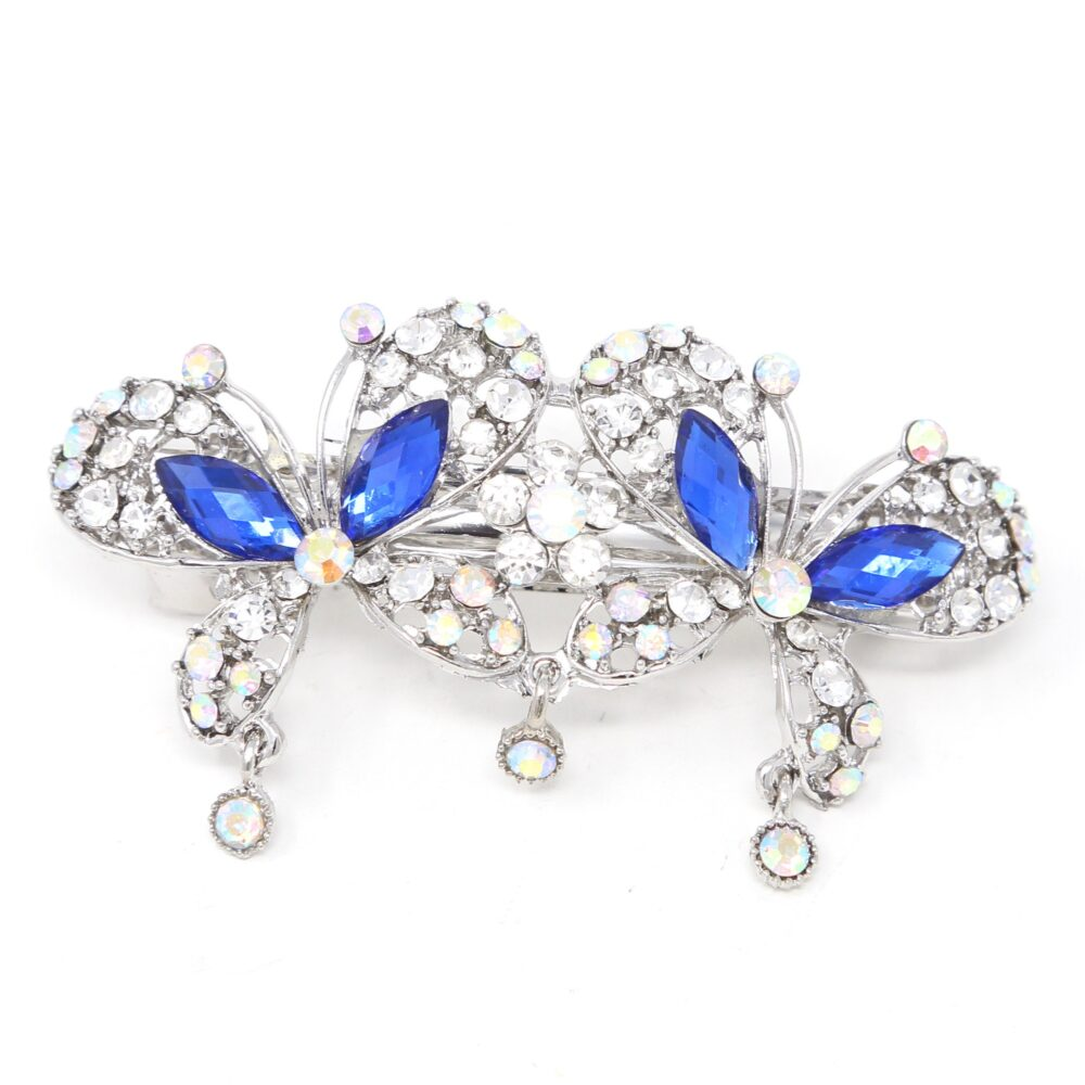 Woman Wedding Hair Barrette Blue Rhinestones Crystal Silver Metal Butterfly Claws Clips Bridal Clip