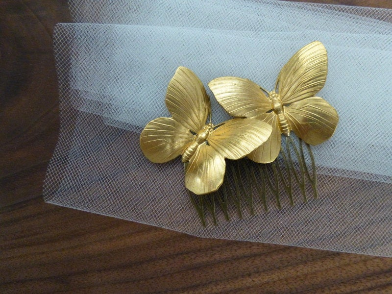 Gold Butterfly Hair Comb Wedding Garden Bridal Accessories Bride Bridesmaid Nature Forest Nymph Fairy Woodland
