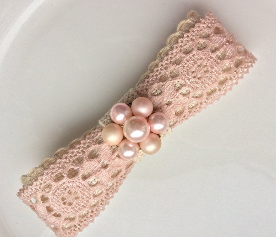 Pink Lace Barrette Bridal Hair Comb 1960 Hairpiece Vintage Wedding Ooak Beige Clip Flat Bow For Princess Gift Idea