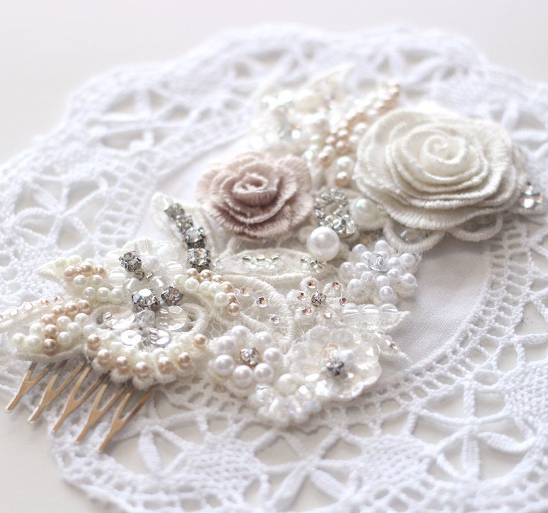 Last Hair Piece Sale Wedding Lace Hairpiece, Embroidered Flower Comb, Accessories, Headpiece, Comb