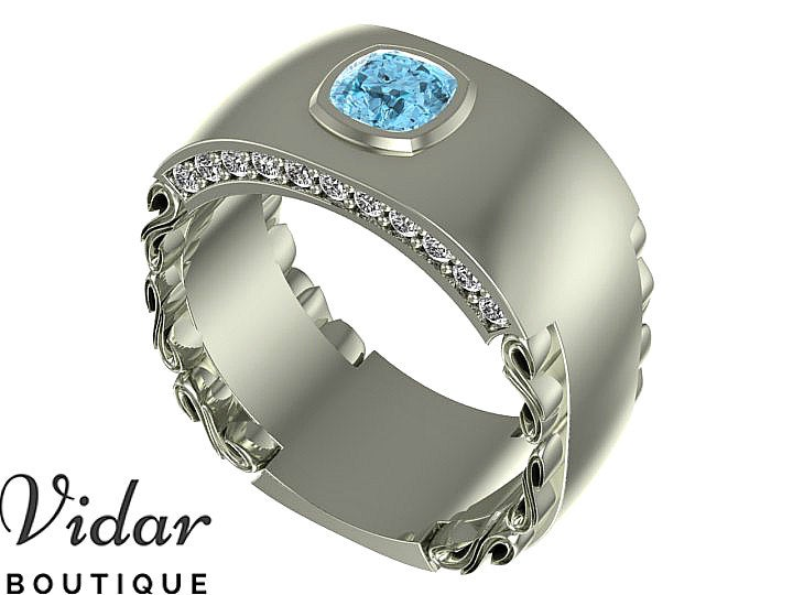 Mens Wedding Band, Unique Men Ring, Aquamarine Band For Men, Cushion Cut Ring Wedding, Men's Rings, Diamond