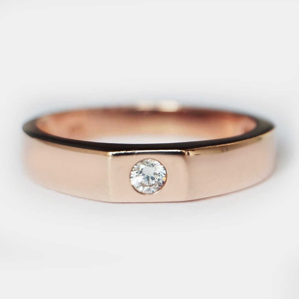 Men's Wedding Band, Diamonds 14K Rose Gold Matching, Promise Ring, Anniversary Mens Diamond Ring