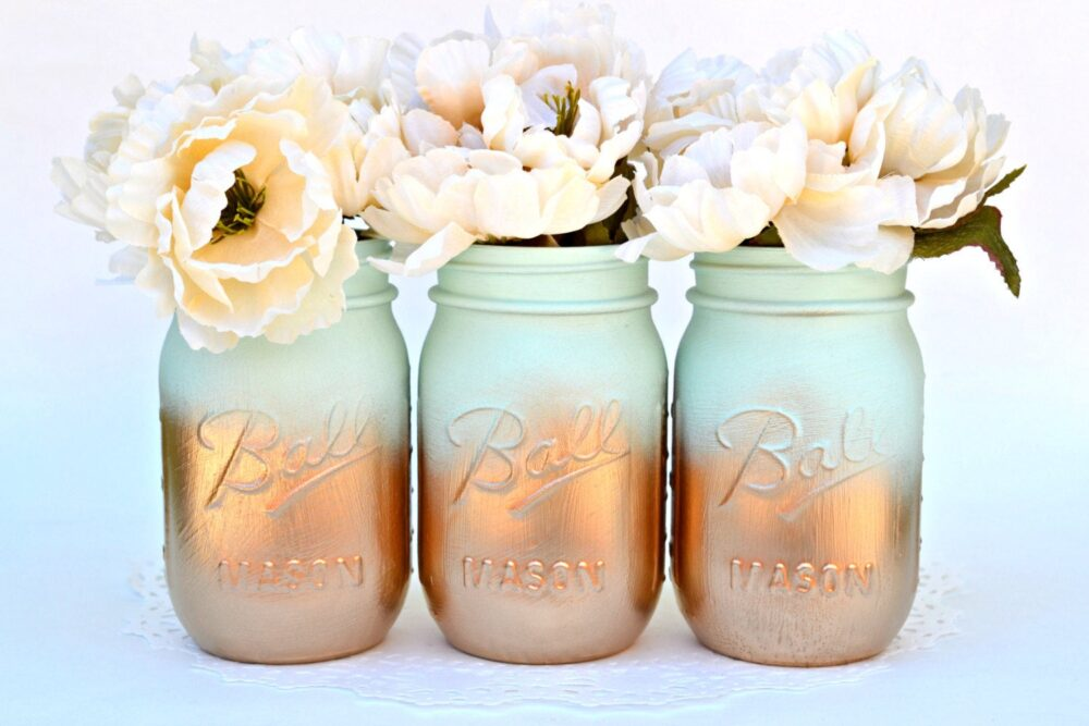 Mason Jar Centerpiece, Wedding Party Mint Gold Decor, Vase