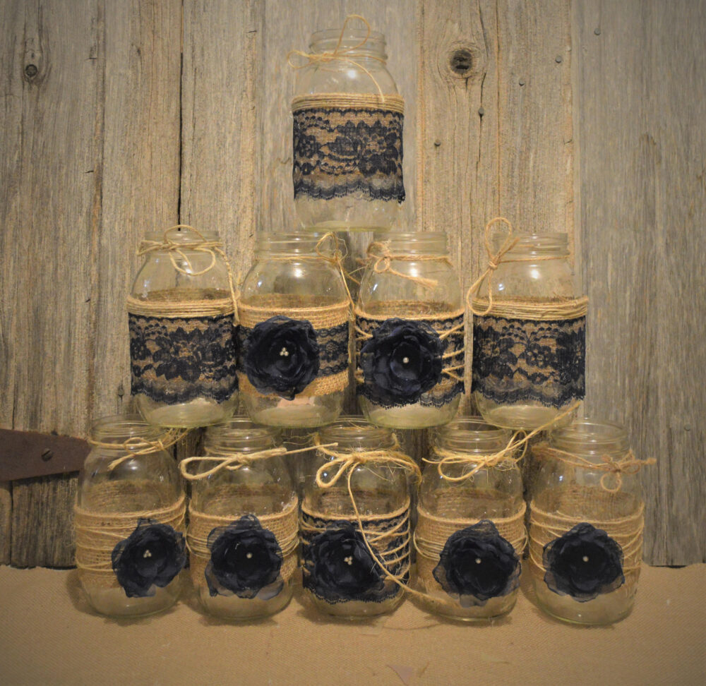 Burlap Mason Jars, Rustic Wedding Decorations, Bridal Shower Jars Not Included, & Lace Jar Sleeves