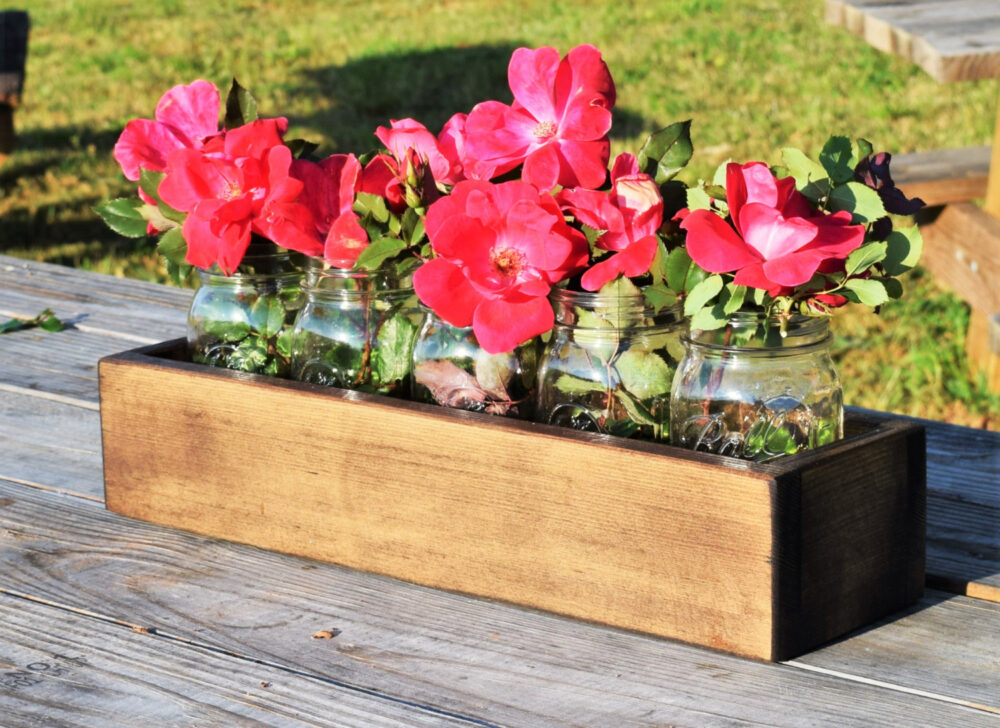 Mason Jar Centerpiece; Wedding Decor; Wooden Holder; Herb Garden; Planter