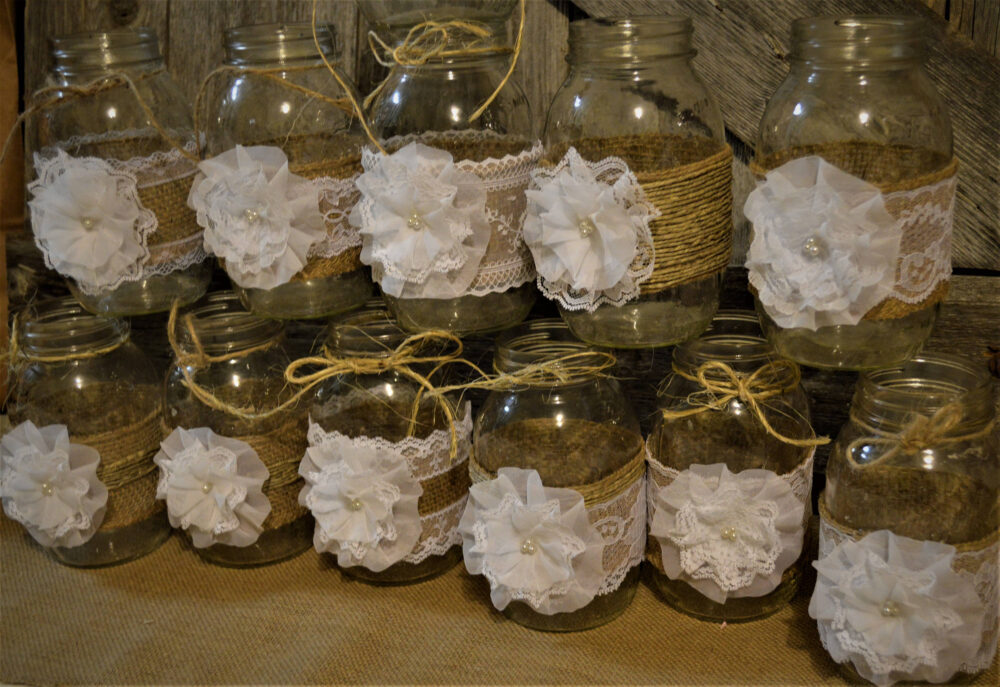Burlap Mason Jars, Jar Wedding, Wedding Centerpieces, Bridal Shower Decorations, No Baptism Shabby Chic