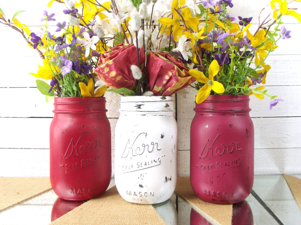 Mason Jar Centerpiece, Wedding Decor, Reception Decorative Jars, Table Centerpiece