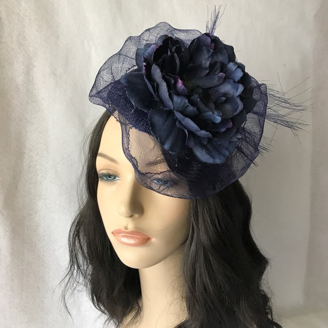 Navy Blue Flower Wedding Fascinator Hat, Kate Middleton Hat, Derby Race Hat For Women, Elegant Church