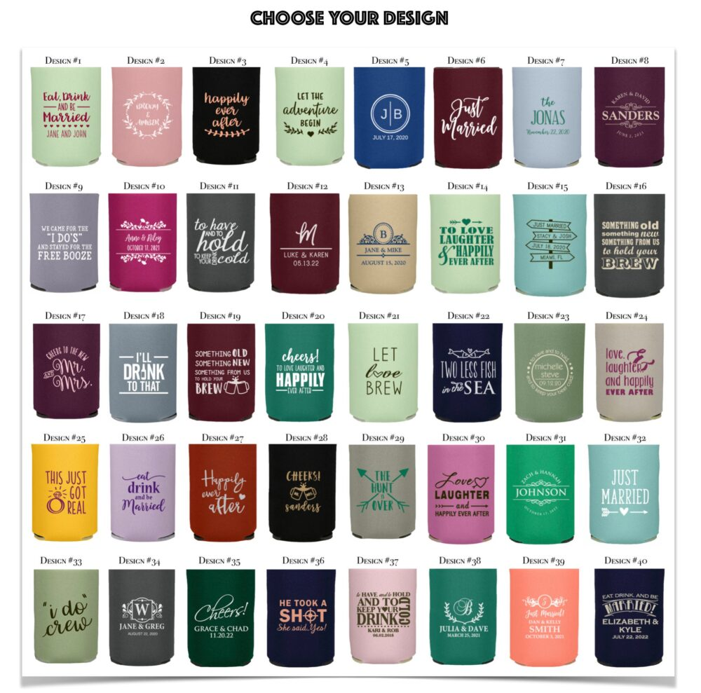 Bulk Personalized Can Coolers | Wedding Favors Party Koozies