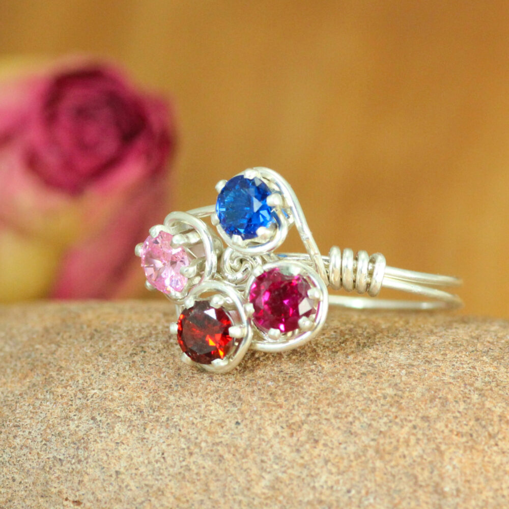 Grandma's Ring 4 Stones Sterling Silver Handmade ~ Mother Birthstone Personalized Jewelry ~Gift For Mom ~Mother's Day Gift