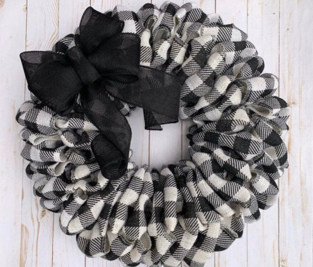 Wreath For Front Door Year Round, Buffalo Plaid, Decor, Everyday, Farmhouse Rustic, Mother's Day Wedding Housewarming Gift