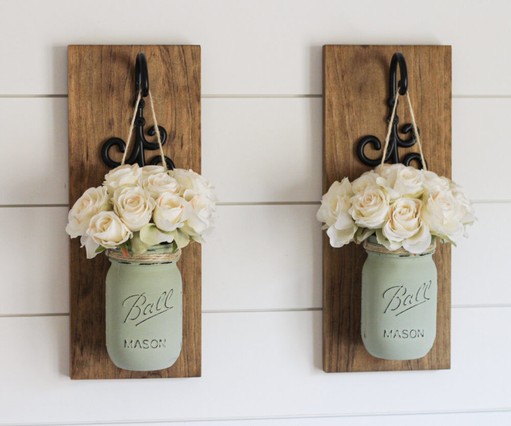 Pair Of Wall Sconces With Hanging Jars - Farmhouse Decor Mason Set Rustic Mother's Day Gift