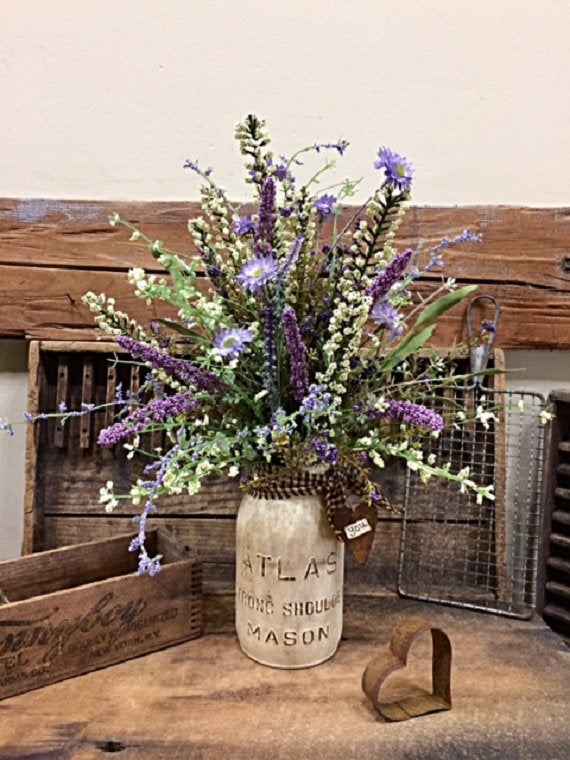 "Primitive Flowers ""Lavender Dreams"" Hand Tied Bouquet W/Vintage Painted Atlas Mason Jar Pretty Tabletop Floral Gift For Mothers Day"