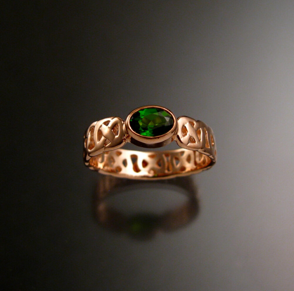 Chrome Diopside Celtic Band Wedding Ring Handcrafted in 14K Rose Gold Emerald Substitute Made To Order Your Size