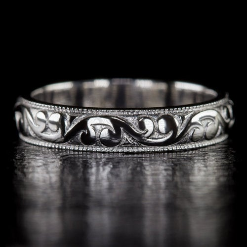 Vintage Engraved Wedding Band Stacking Ring Eternity 14K White Gold Art Deco 4Gm Classic Curlicue | 9360
