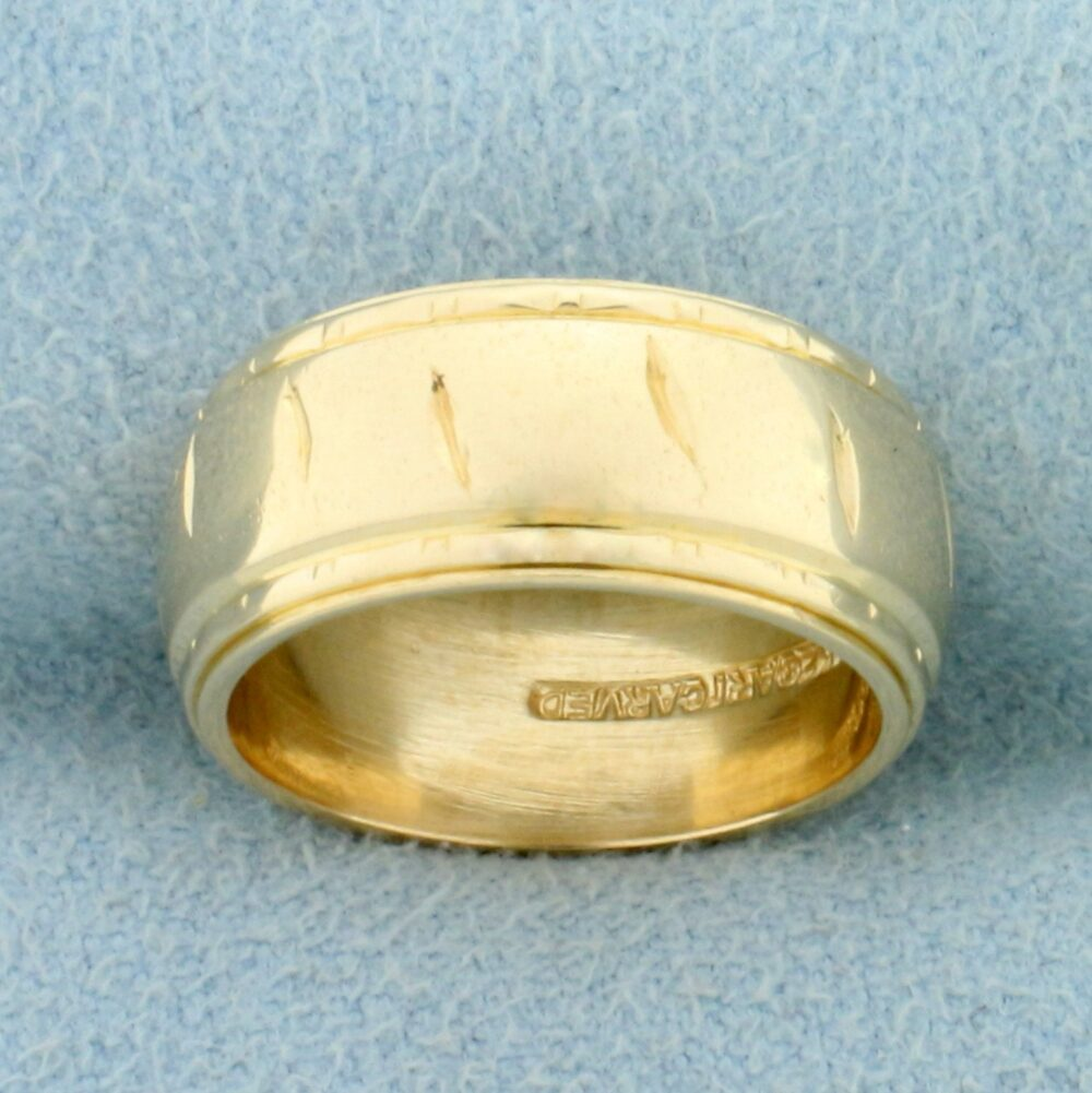 Etched Band Ring in 14K Yellow Gold