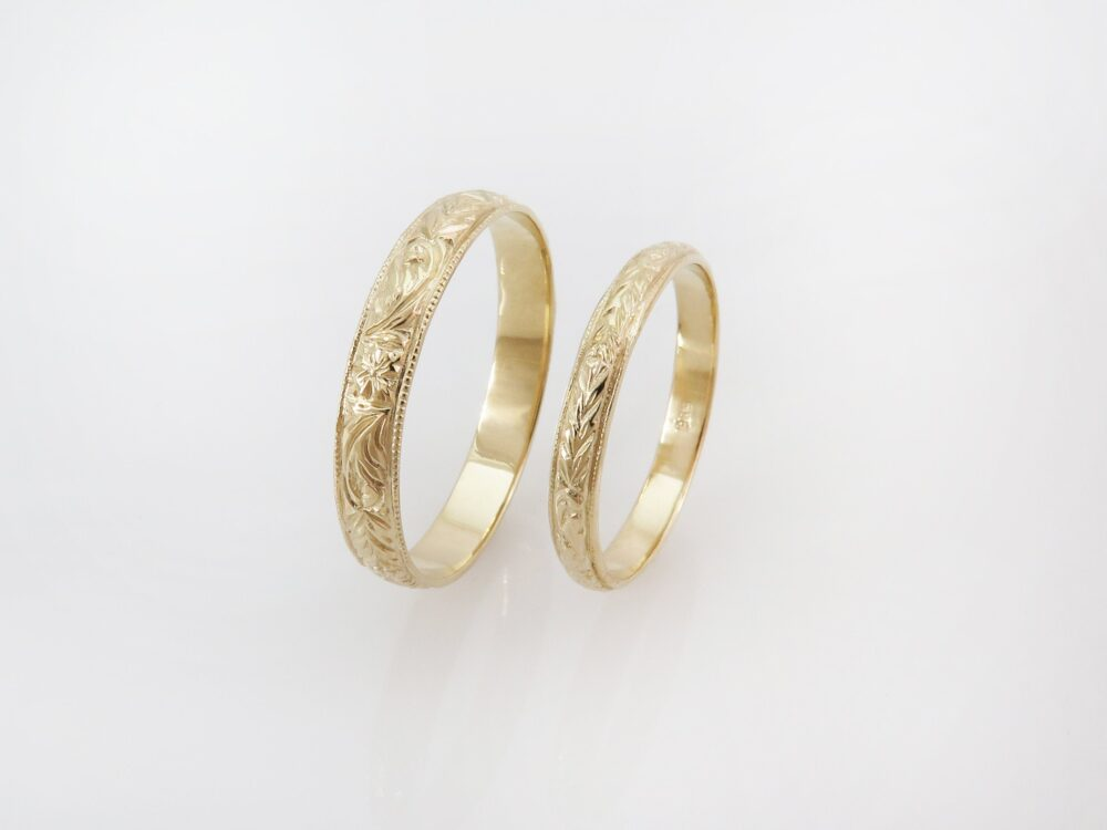 Unisex Wedding Band, Couples Rings, 14K Gold Ring Set, Matching Bands, His & Hers Rings Vintage