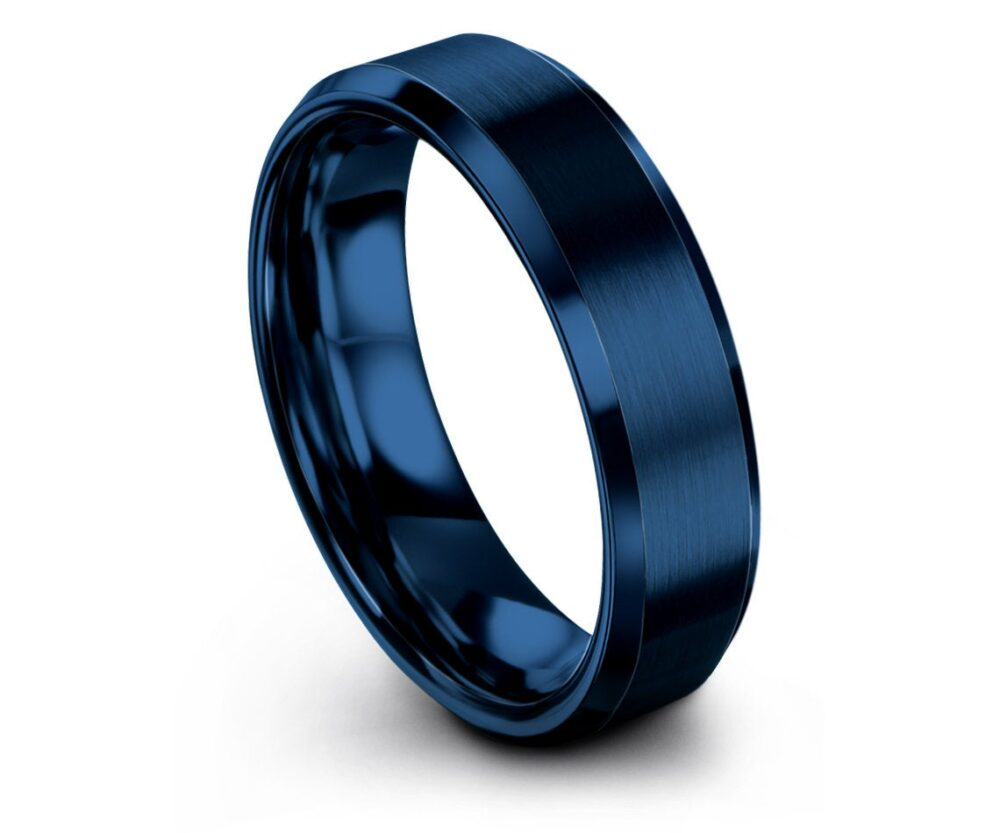 Blue Wedding Band Tungsten Beveled, Gifts For Him, Her, Ring Set, His & Hers Rings, Ring, Gift Husband