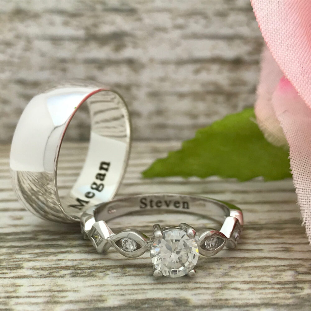 8mm/4mm His & Hers Wedding Band Rings, Personalize Sterling Silver Custom Engraved Ring, Couples Rings Set