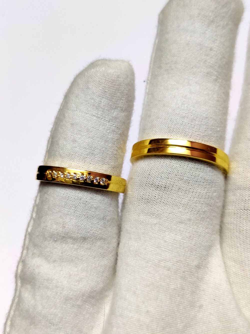Silver Couple Wedding Bands Ring Gold Rhodium Plated Rings For Band Set His & Her Promise