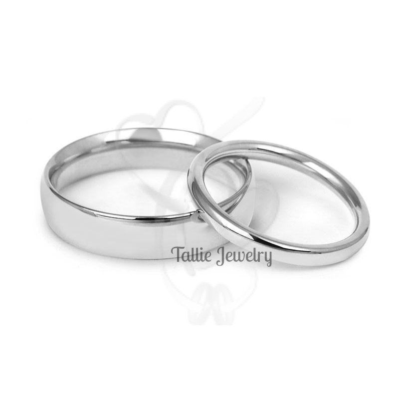 His & Hers Wedding Bands, Matching Rings Set , 10K 14K 18K Solid White Gold Plain And