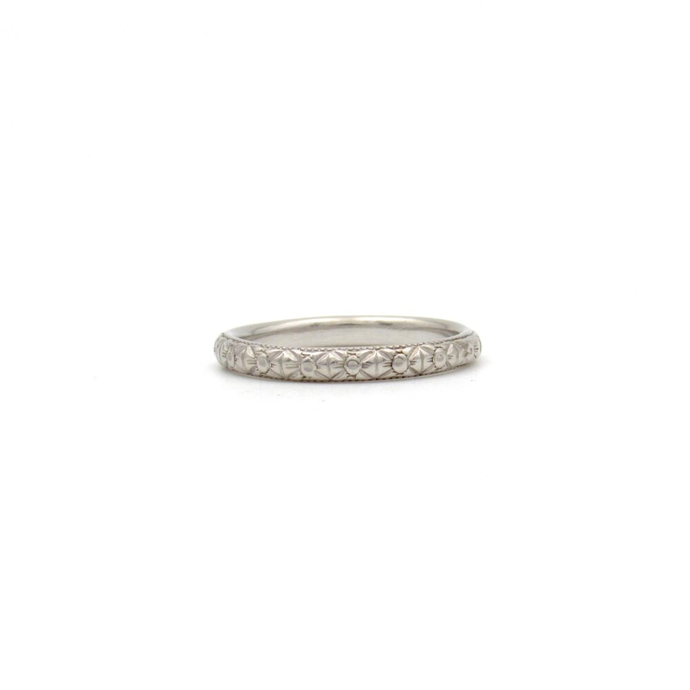 Antique Platinum Wedding Band | Art Deco Ring Vintage Eternity Stacking Midi Pinky
