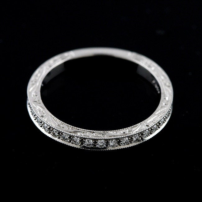 Diamond Wedding Ring, Scroll Swirl Engraved Band, Antique Style Milgrain Carved Band, Women's Platinum Band 2mm