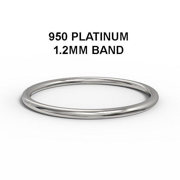 Solid 950 Platinum 1.2mm Simple Wedding Band, Stackable Ring, Thin Dainty Minimalist Boho Band For Women, Min101
