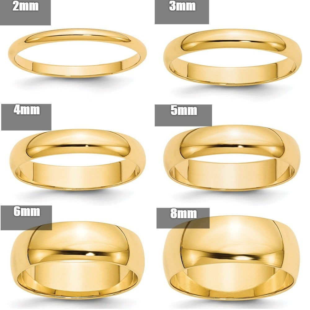 14K Solid Yellow Gold 2mm 3mm 4mm 5mm 6mm 8mm Wide Men's & Women's Wedding Band Ring Sizes 4-14. 14K Gold, Thumb Toe Midi