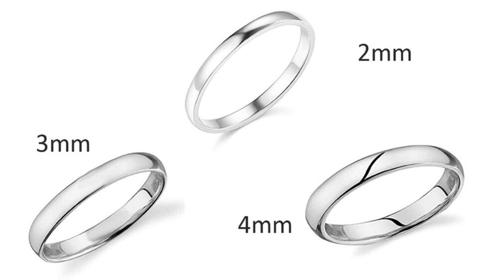2mm 3mm 4mm Wedding Band Ring For Men Women 14K White Gold Plated Sterling Silver Domed High Polish