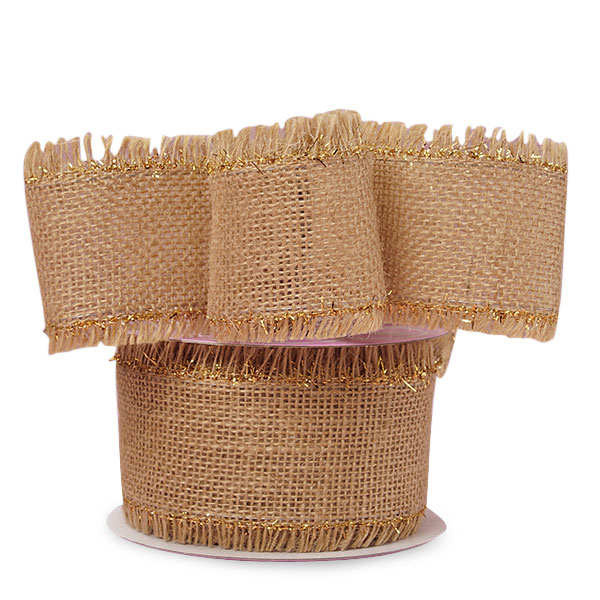 "2 1/2"" X 10 Yards Metallic Mesh Gold Trimmed Fine Burlap Ribbon by Ribbons.com"