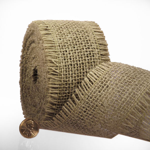 "1 1/2"" X 10 Yards Jute Mesh Natural Loose Burlap Ribbon by Ribbons.com"