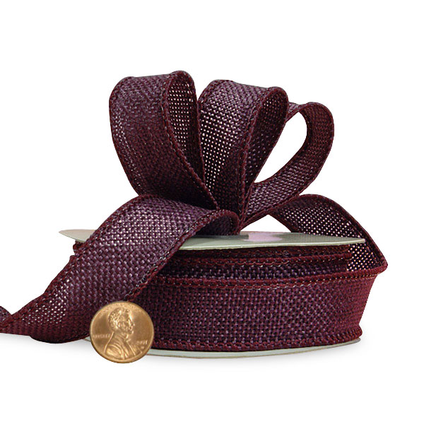 "7/8"" X 10 Yards Jute Colored Merlot Faux Burlap Ribbon by Ribbons.com"