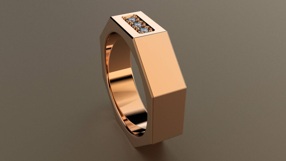Diamond Rose Gold 6mm Mens Wedding Band, Octagon 14Kt Pink Ring With 3 Diamonds, Perfect For A Mechanic, Nut & Bolt