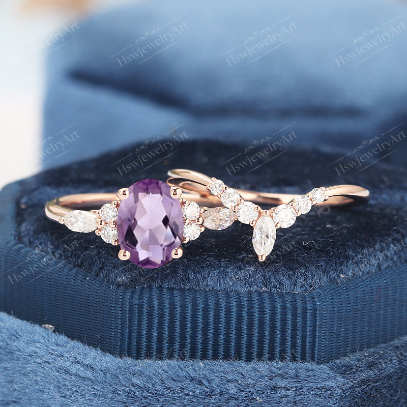 Oval Amethyst Engagement Ring Solid Gold Ring Unique Pear Shape Cluster Engagement Vintage Marquise Diamond Wedding Bridal