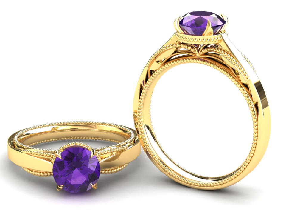 Amethyst Engagement Ring 1.00 Carat Solitaire in 14K Or 18K Yellow Gold Sjw1Pky