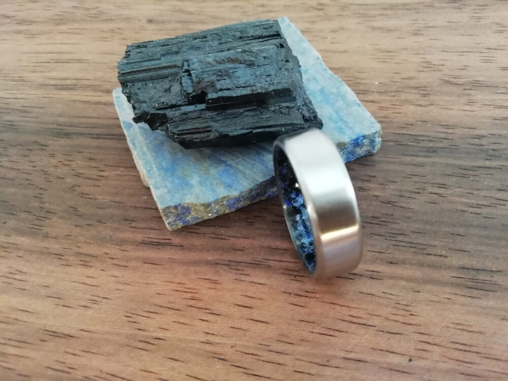 Raw Stone, Mens Wedding Band, Stone Rings, Wedding Band Men, Titanium Lapis Lazuli, Toumaline, Beveled Edges Rings For Women