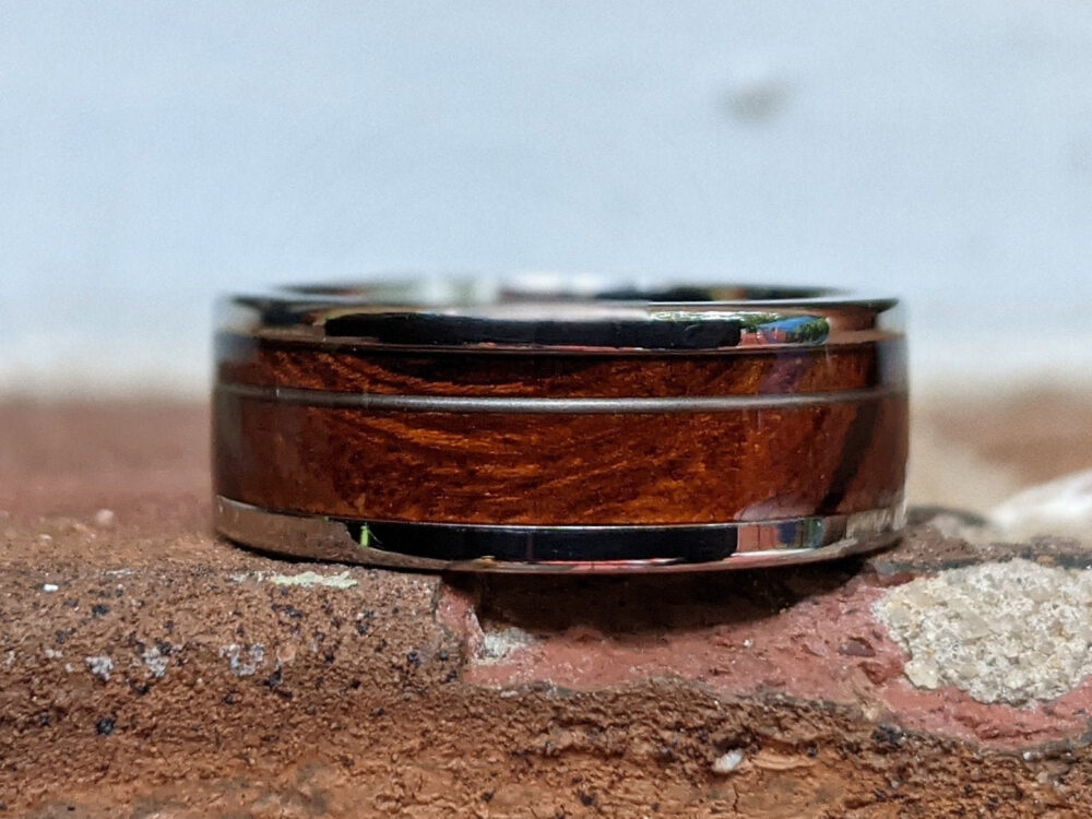 Hand Made Titanium Wedding Band With Ironwood & Inlay, Mens Ring, Men's Band, Rings With Wood