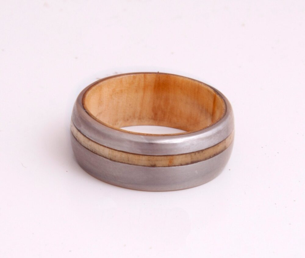 Titanium Ring Man Wedding Band Mens Wedding Band With Inner Wood Ring & Olive