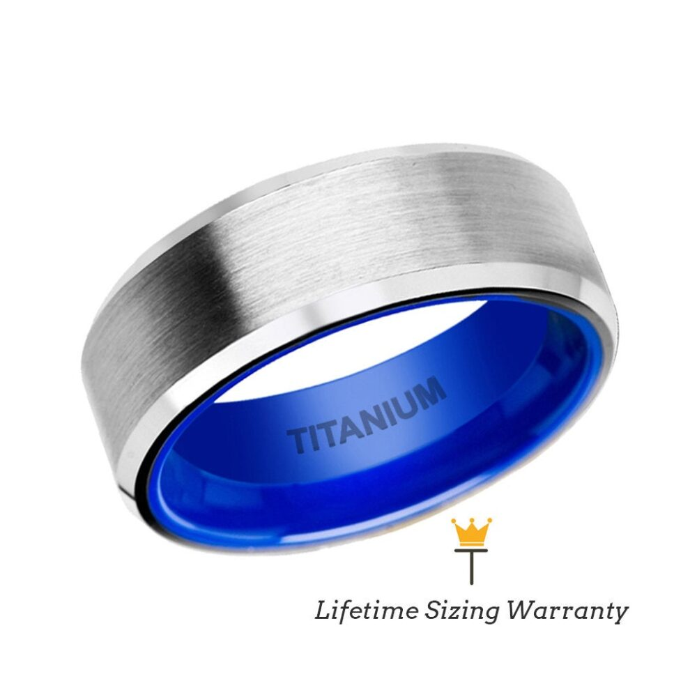Silver Brushed Center Titanium Men's Wedding Ring Beveled Edge & Vibrant Blue Inside, Engagement & Anniversary Band For Men, Promise Rings