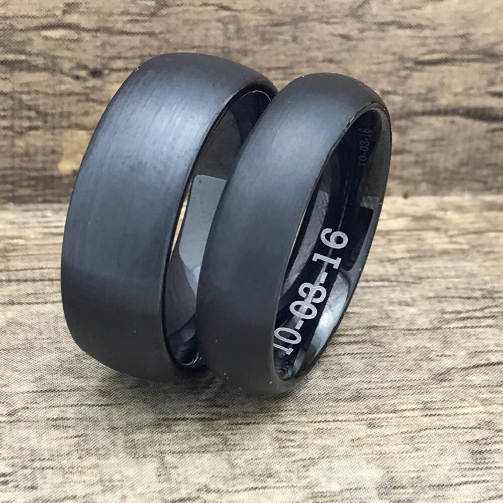 8mm/6mm Personalized Cobalt Wedding Rings, Custom Engraved Promise His & Hers Ring Set, Couples Bands