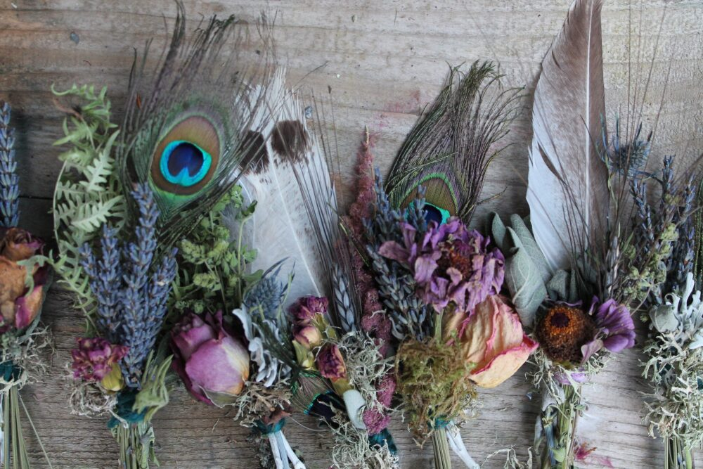 Bud Vase Bouquet, Arrangement, Dried Budvase Floral Boho Bridal Feather Mauve Flowers, Zinnia