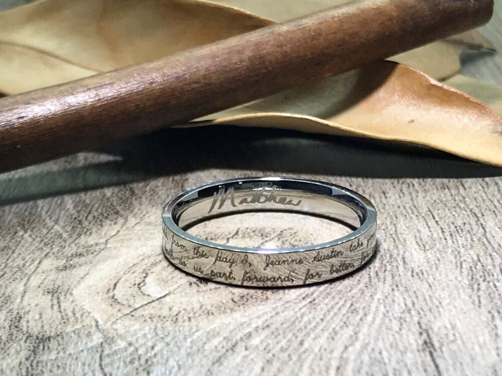 Handmade Your Marriage Vow & Signature Rings White Gold Colour Wedding Ring Titanium Bridal Band Couple Flat Shape 4mm